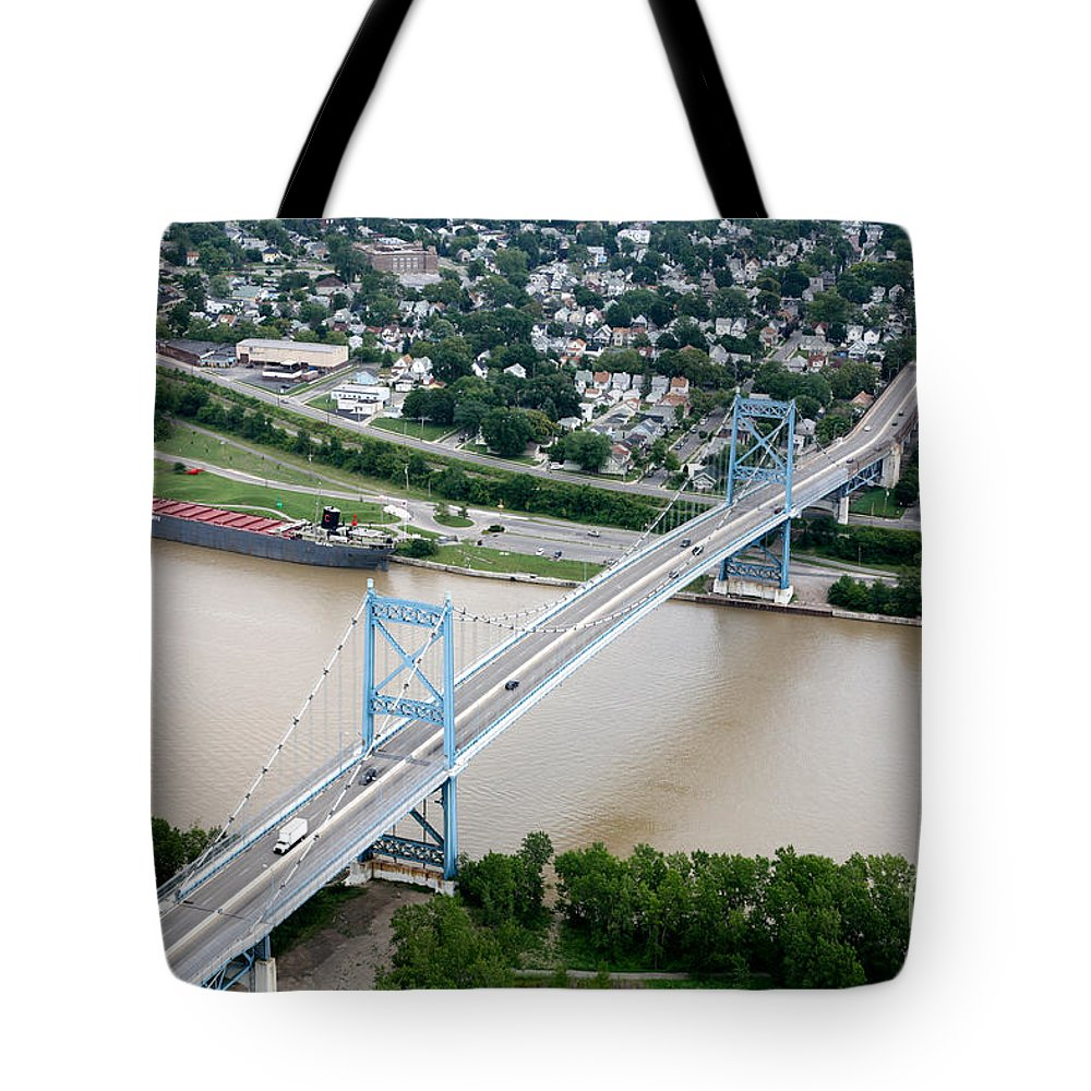Aerial Tote Bag featuring the photograph Anthony Wayne Bridge Toledo Ohio by Bill Cobb