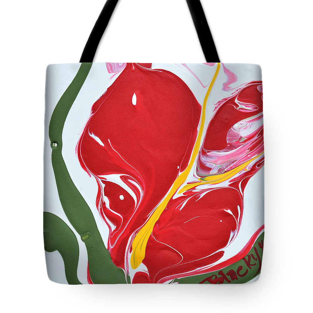 Anthurium Tote Bag featuring the painting Anthurium Fire by Donna Blackhall