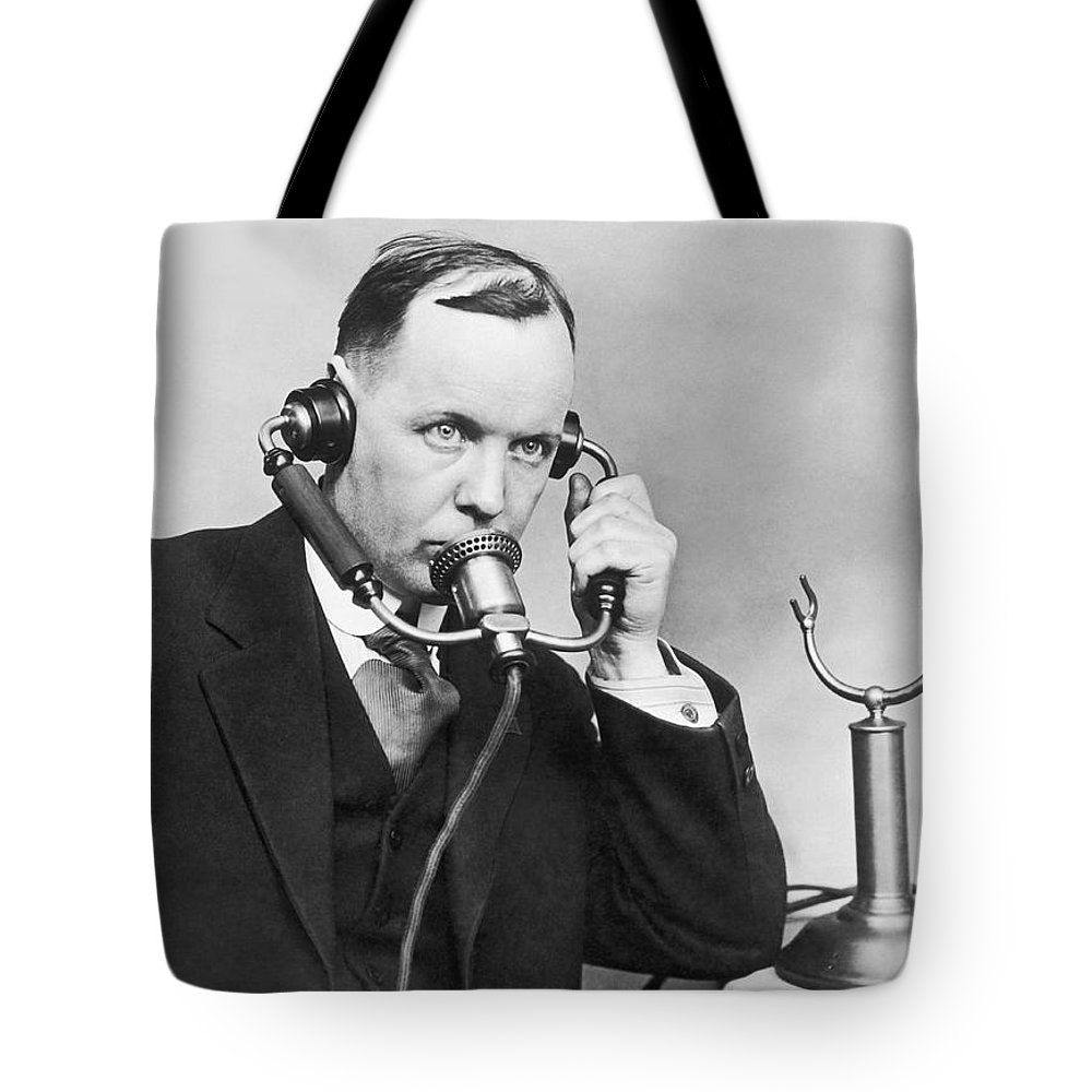 1 Person Tote Bag featuring the photograph Anti Noise Telephone by Underwood Archives