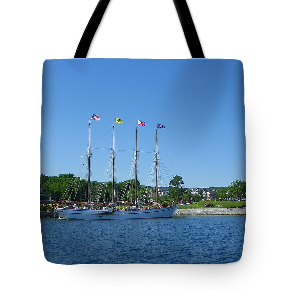 Schooners Tote Bag featuring the photograph Anticipating The Bar Harbor Experience by Georgia Hamlin