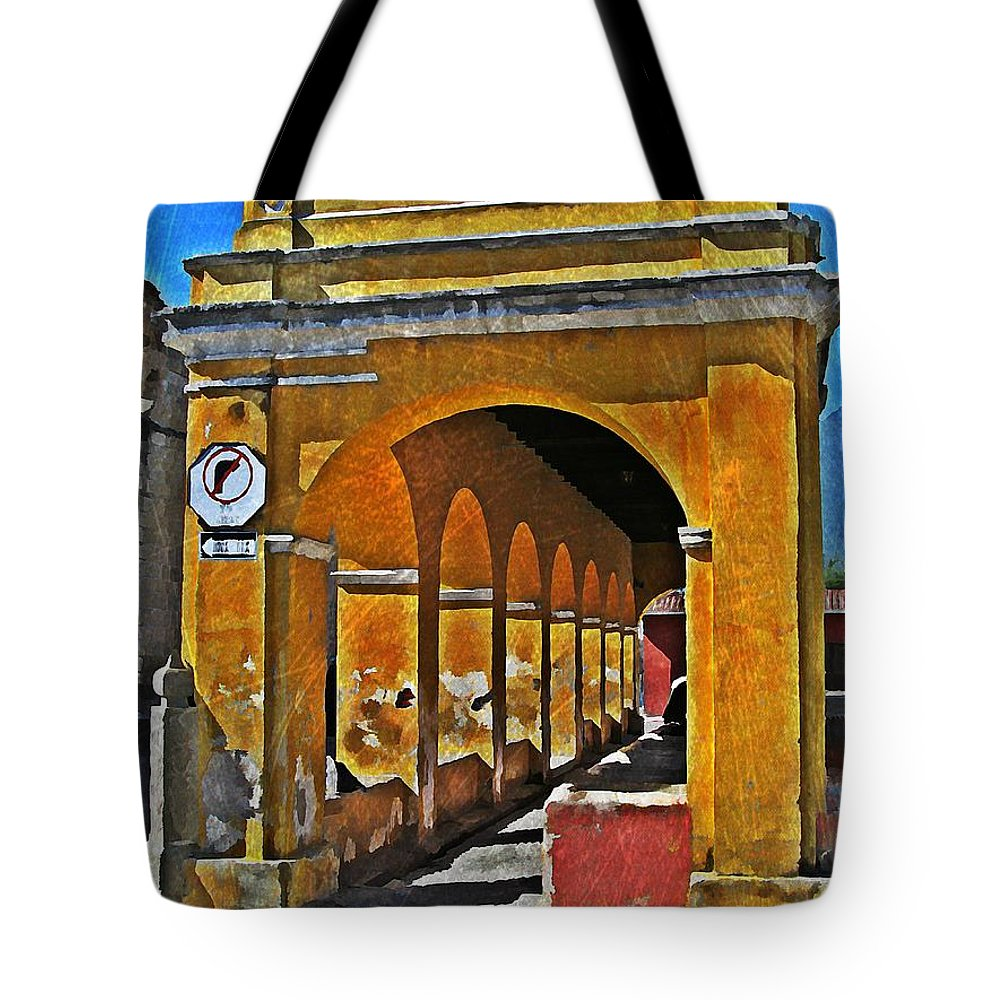 Antigua Tote Bag featuring the digital art Antigua Arches by Maria Huntley
