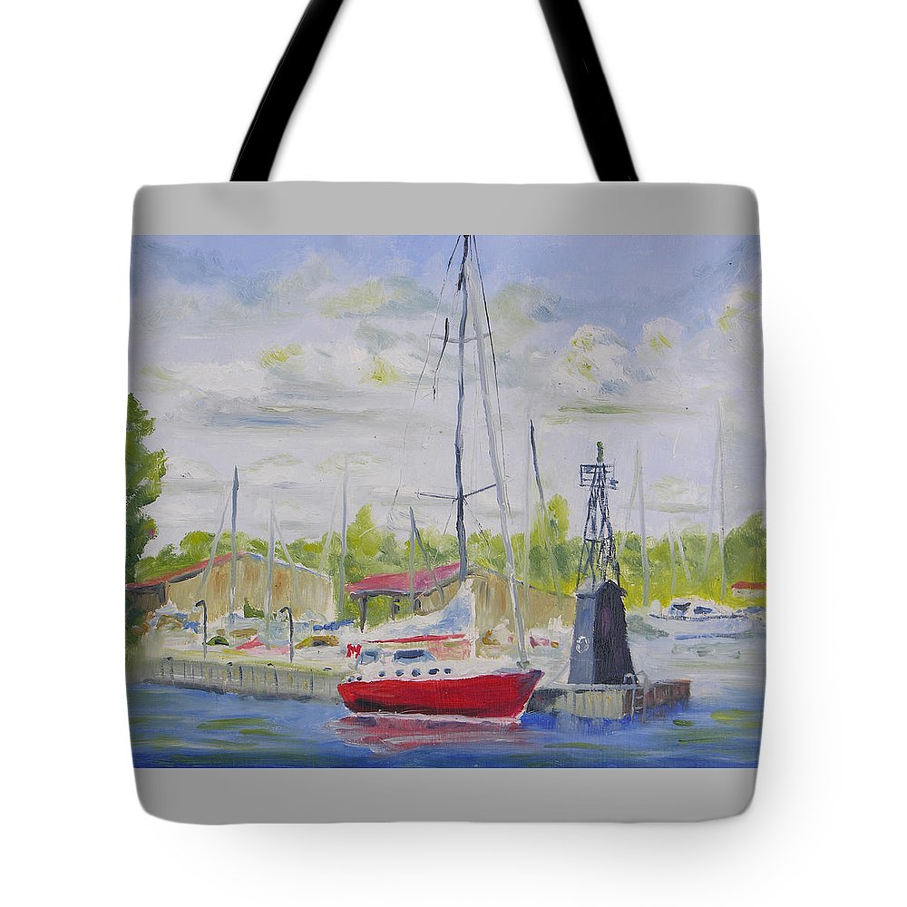 Antique Boat Museum Tote Bag featuring the painting Antique Boat Museum-clayton Ny by Robert P Hedden