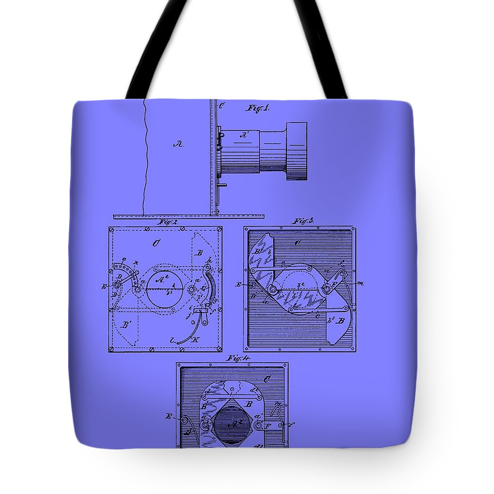 Patent Tote Bag featuring the drawing Antique Camera Patent 1883 by Mountain Dreams