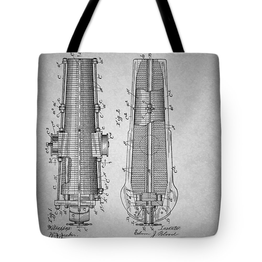 Patent Tote Bag featuring the drawing Antique Cannon Patent 1897 by Mountain Dreams