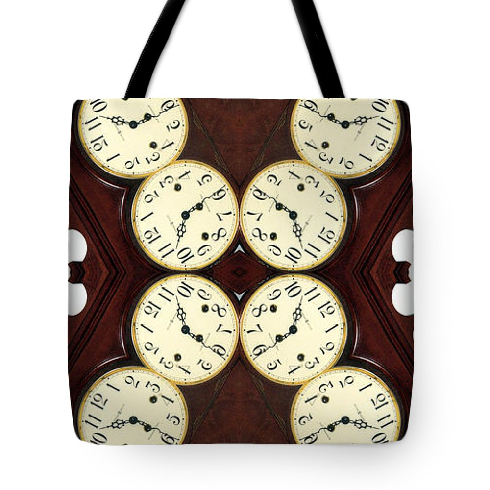 Digital Abstract Tote Bag featuring the photograph Antique Clock Abstract . Vertical by Renee Trenholm