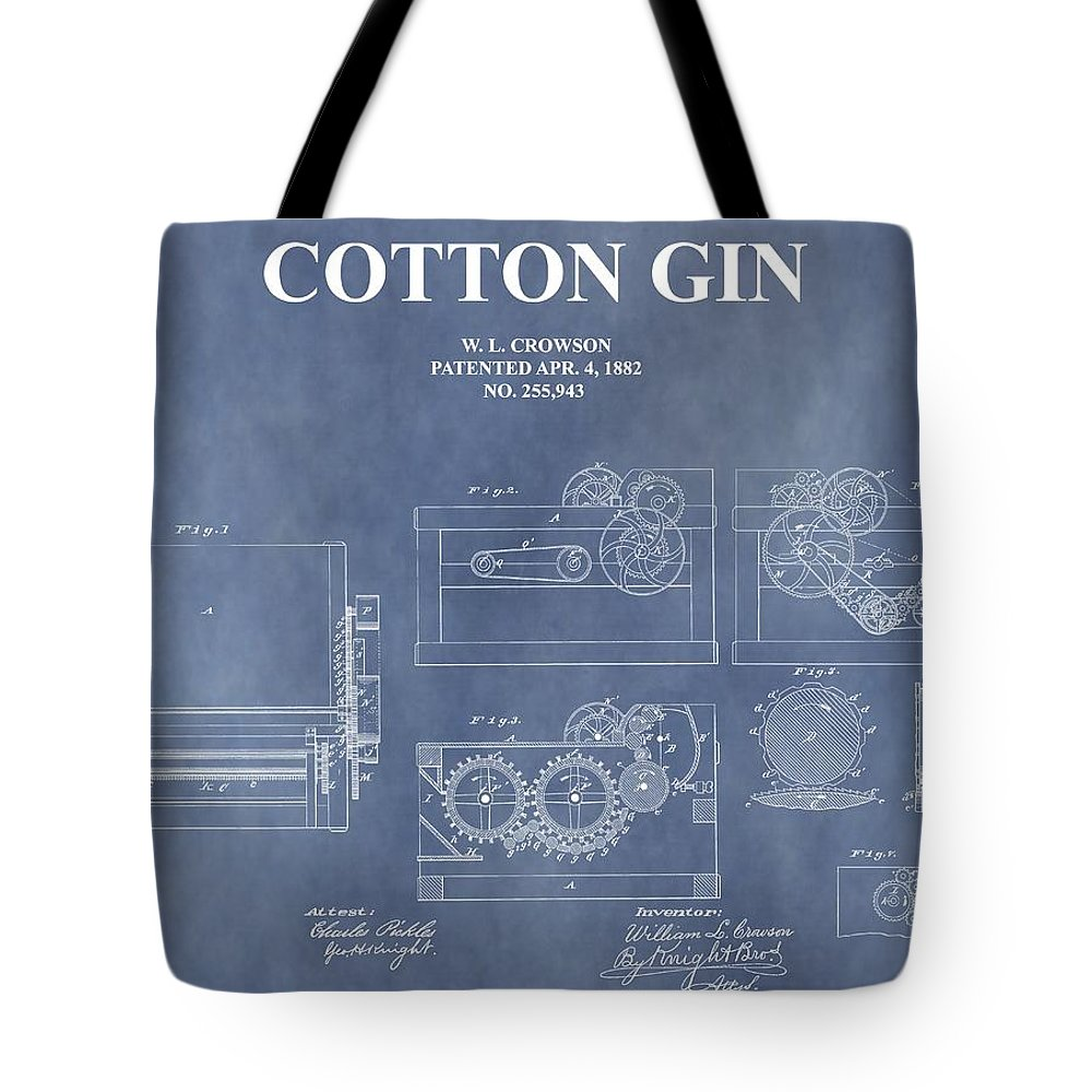 1882 Cotton Gin Patent Tote Bag featuring the mixed media Antique Cotton Gin Patent by Dan Sproul