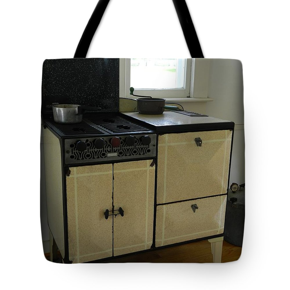 Antique Tote Bag featuring the photograph Antique Enameled Stove by George Pedro