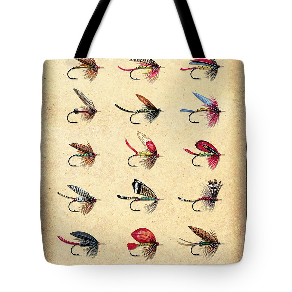 Jon Q Wright Tote Bag featuring the painting Antique Lake Flys by JQ Licensing