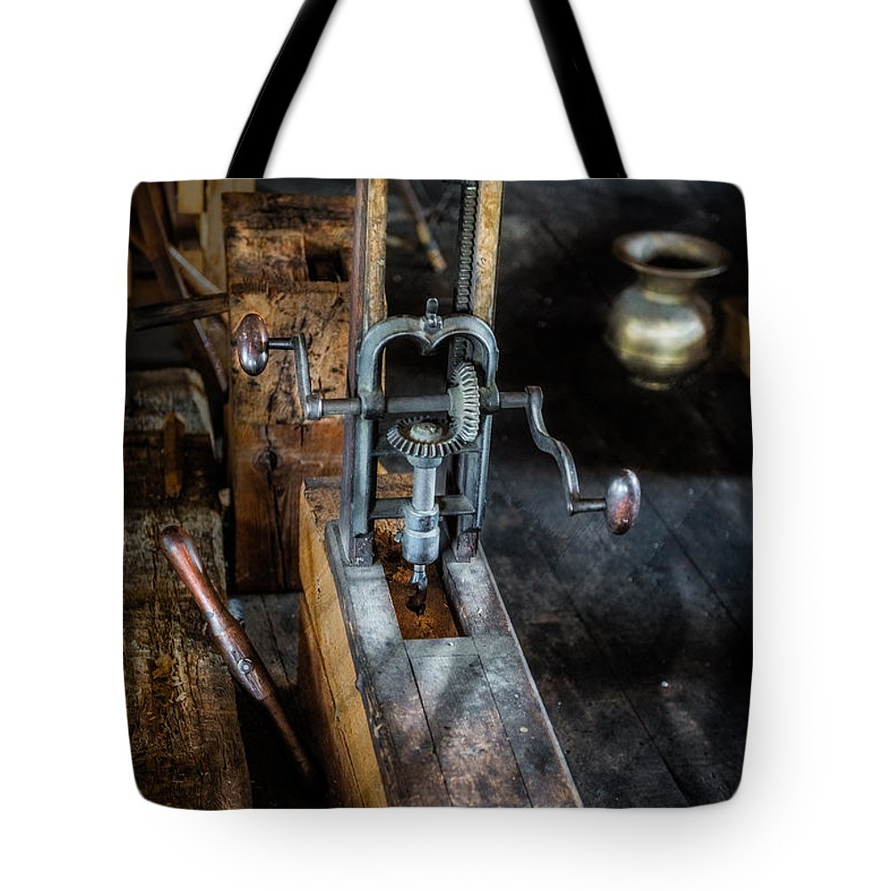 Machine Tote Bag featuring the photograph Antique Mortising Machine by Paul Freidlund