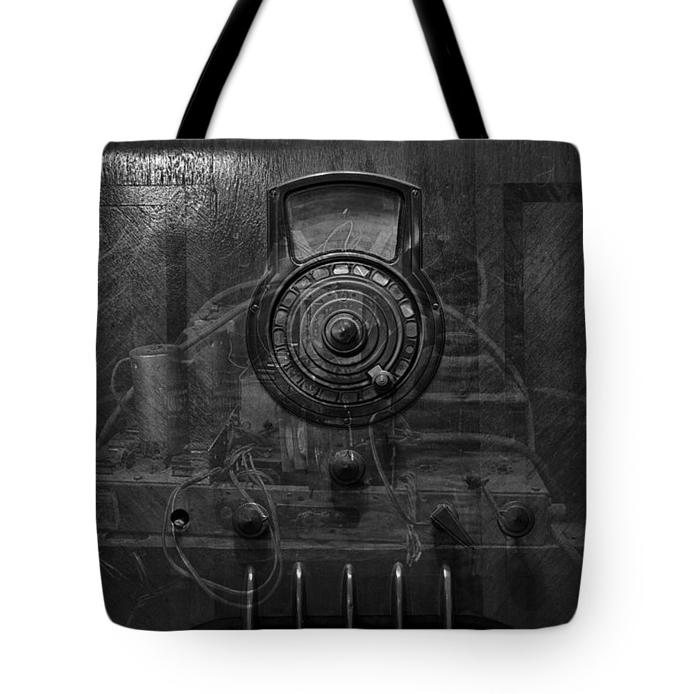 Radio Tote Bag featuring the photograph Antique Philco Radio Model 37 116 Bw Merge by Thomas Woolworth