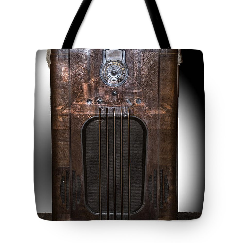 Radio Tote Bag featuring the photograph Antique Philco Radio Model 37 116 Merged V by Thomas Woolworth