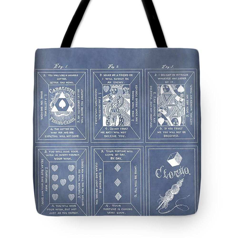 Playing Cards Patent Tote Bag featuring the drawing Antique Playing Cards by Dan Sproul
