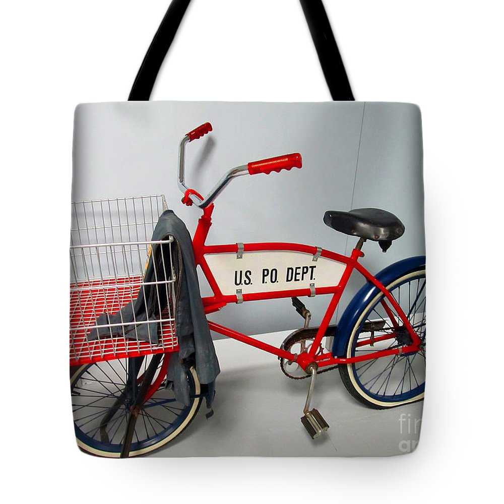 Bike Tote Bag featuring the photograph Antique Postal Delivery Bike by Tina M Wenger