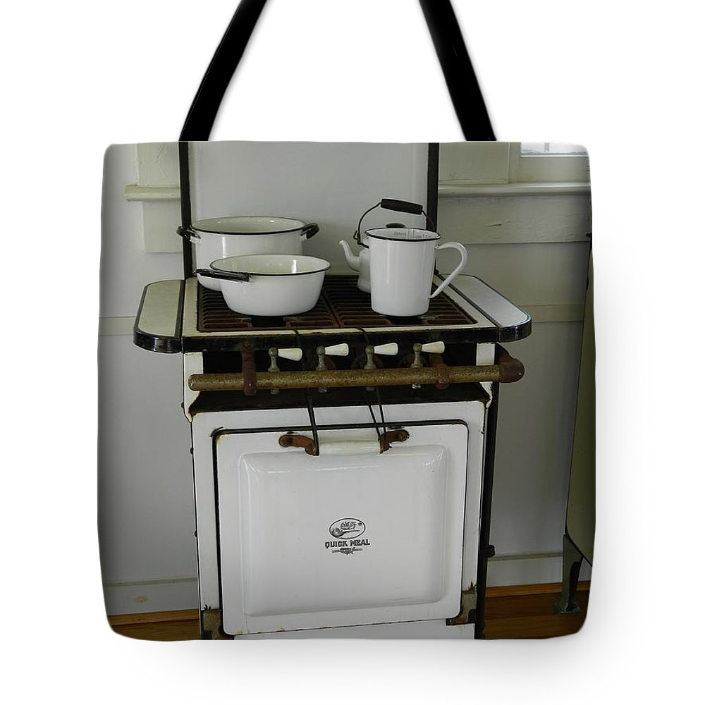 Enamel Tote Bag featuring the photograph Antique Stove Number 3 by George Pedro
