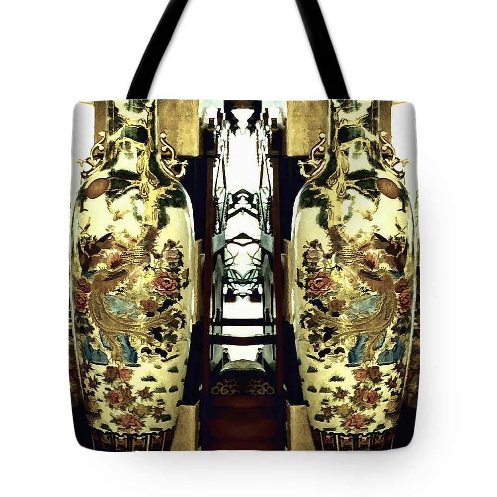 Vase Tote Bag featuring the photograph Antique Vases In The Interior Oil Painting On Canvas by Nenad Cerovic