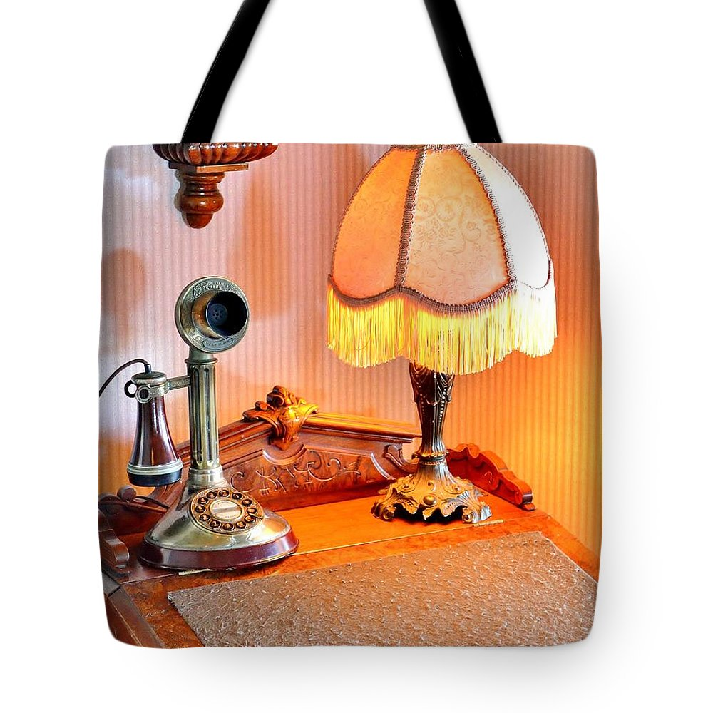 Antique Tote Bag featuring the photograph Antique Victorian Desk At The Boardwalk Plaza - Rehoboth Beach Delaware by Kim Bemis