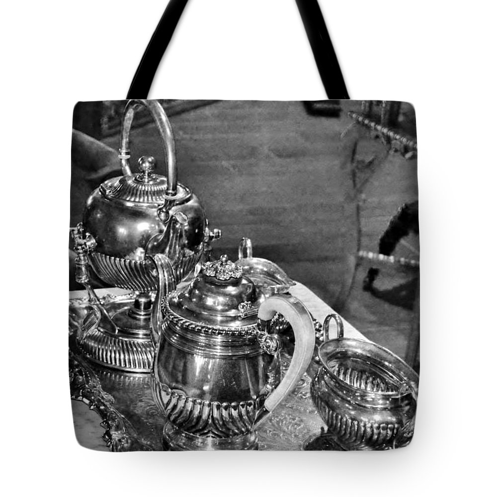 Antique Tote Bag featuring the photograph Antique Victorian Tea Service In The Boardwalk Plaza Lobby - Rehoboth Beach Delaware by Kim Bemis
