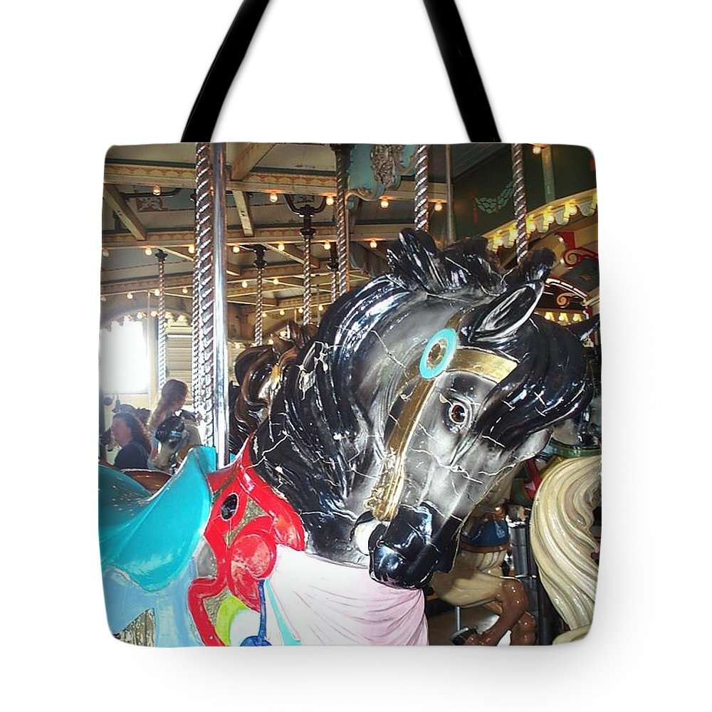 Carousel Restoration Tote Bag featuring the photograph Antique Waiting by Barbara McDevitt
