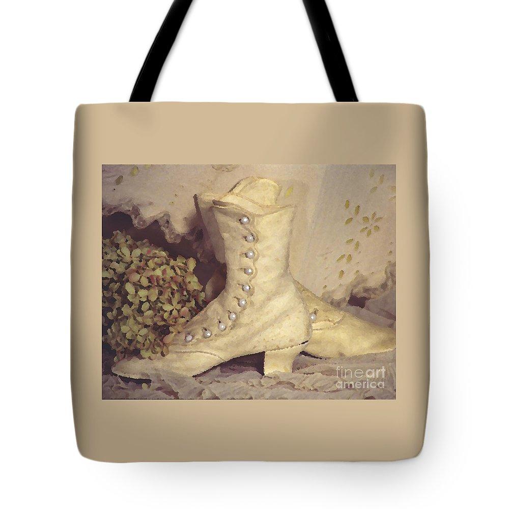 Susan Lipschutz Tote Bag featuring the digital art Antique Wedding Shoes by Susan Lipschutz