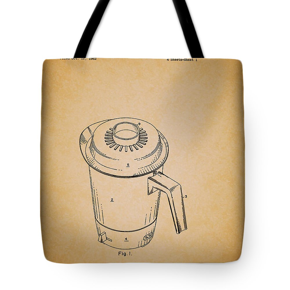 Patent Tote Bag featuring the drawing Antique Westinghouse Coffee Maker Patent 1964 by Mountain Dreams