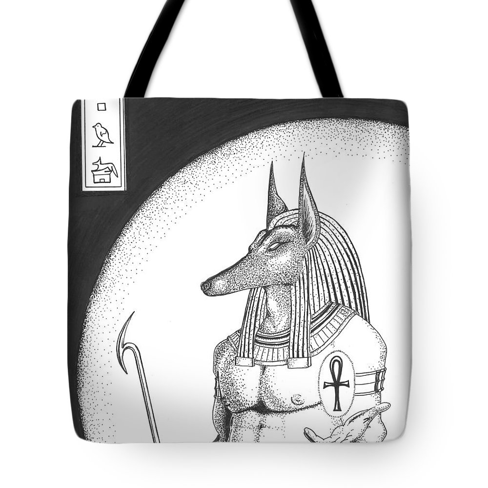 Anubis Tote Bag featuring the drawing Anubis by Jeffrey Oleniacz