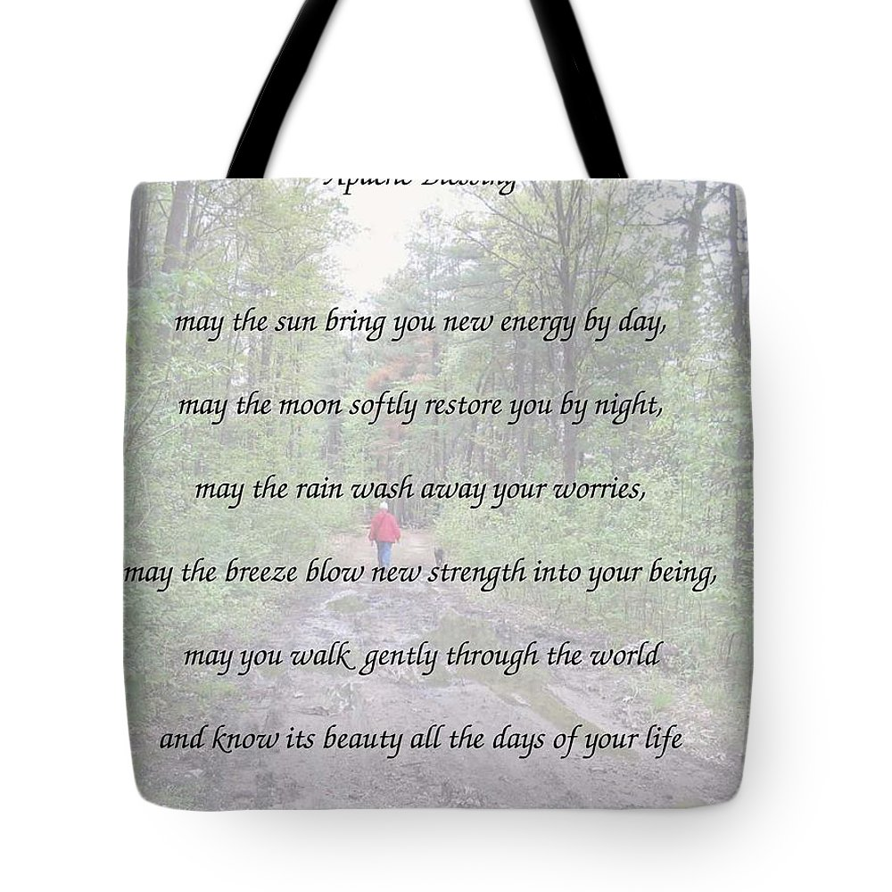 Apache Blessing Tote Bag featuring the painting Apache Blessing With Photo by Linda Feinberg