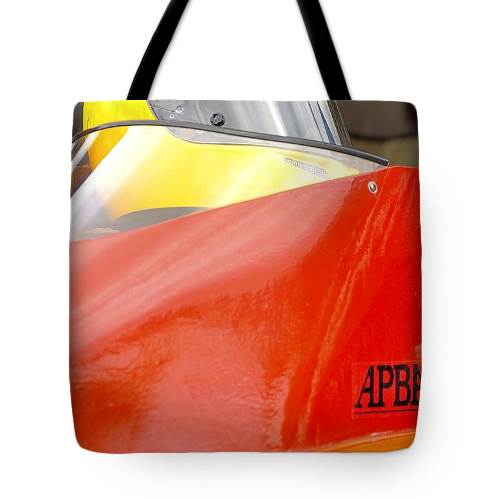 Rogers Tote Bag featuring the photograph Apba Boat And Helmet 24291 by Jerry Sodorff