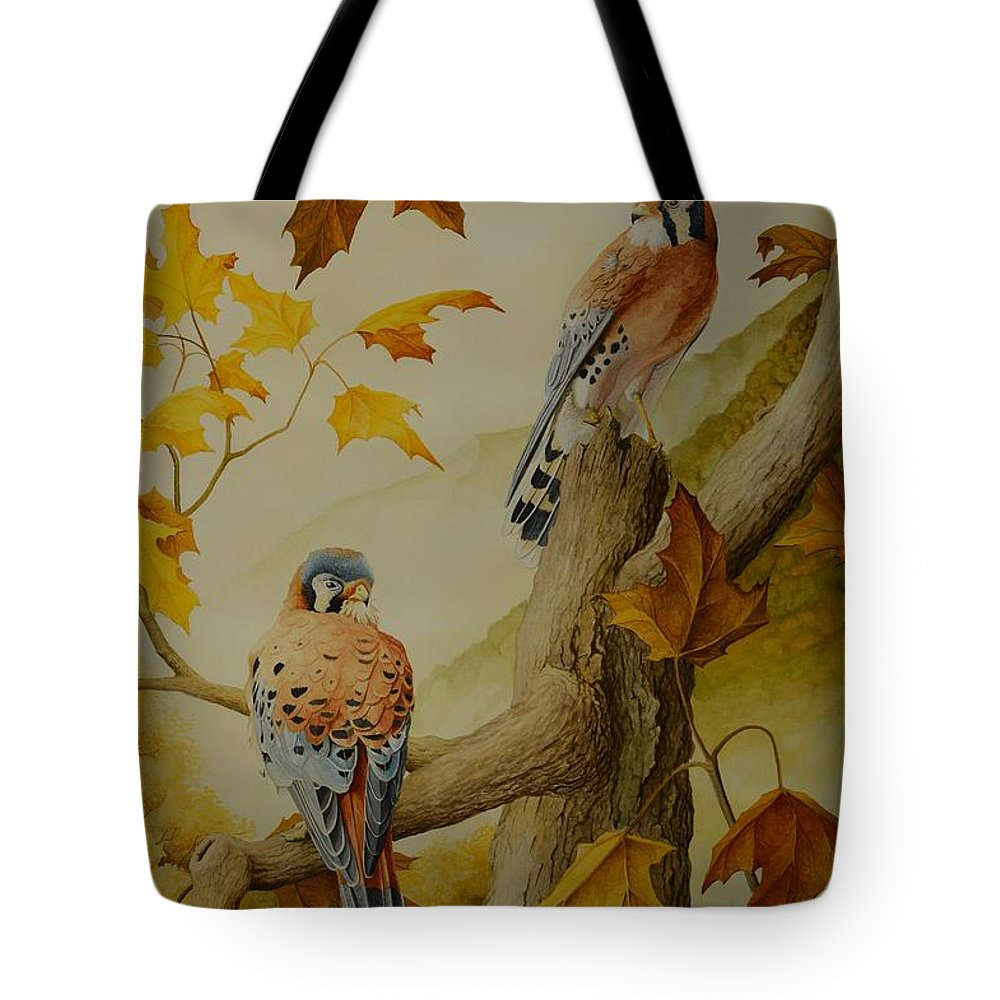 Bird Tote Bag featuring the painting Appalachian Autumn by Charles Owens