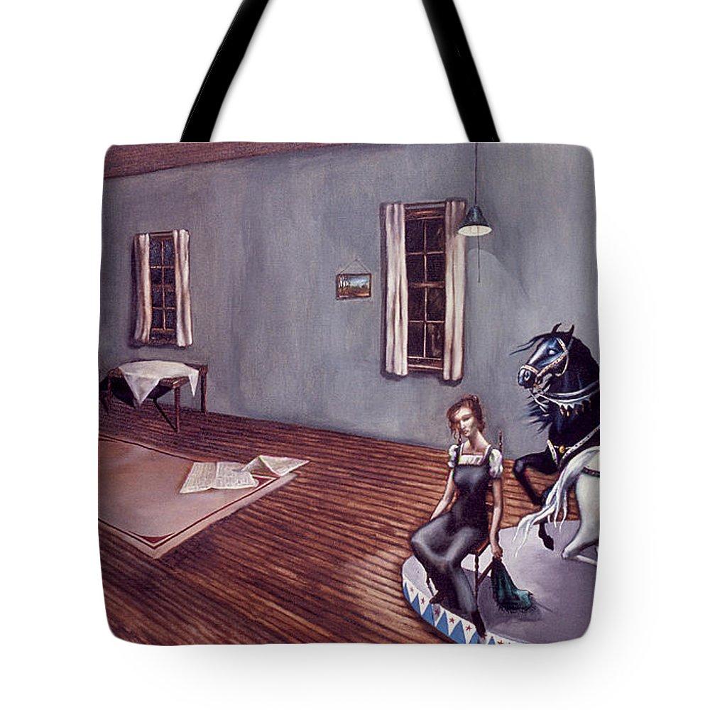 Wierd Tote Bag featuring the painting Appalachian Carousel by Jane Whiting Chrzanoska