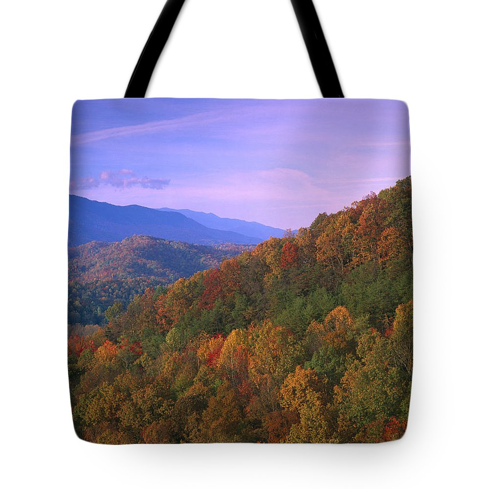 Appalachian Mountains Tote Bag featuring the photograph Appalachian Mountains Ablaze by Tim Fitzharris