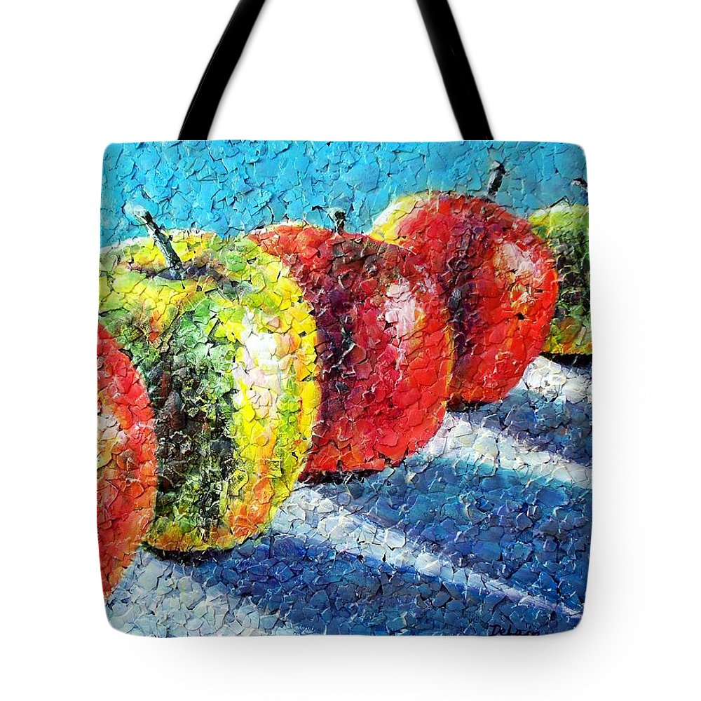 Sue Delain Tote Bag featuring the painting Apple A Day by Susan DeLain