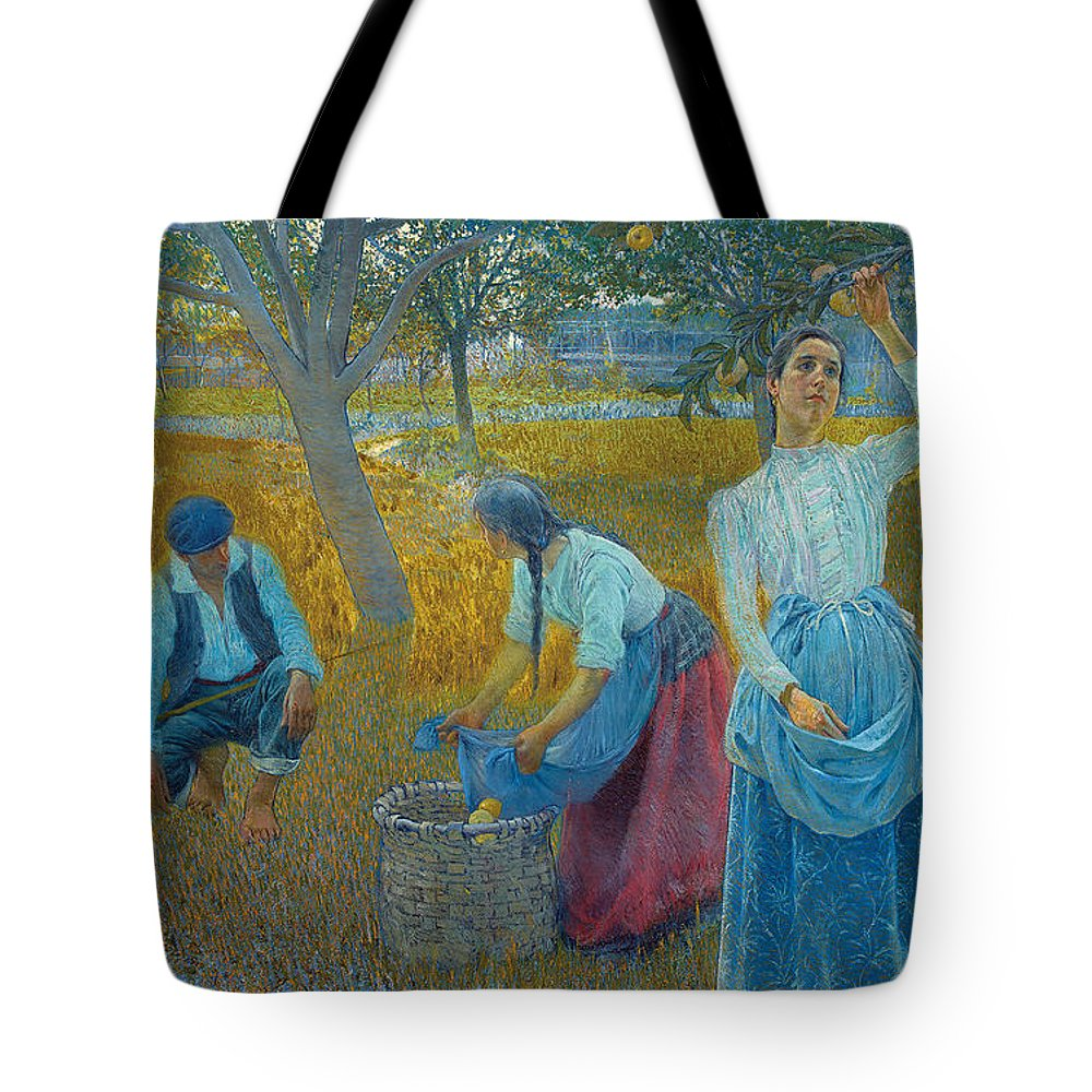 Anselmo Guinea Tote Bag featuring the painting Apple Harvest by Celestial Images