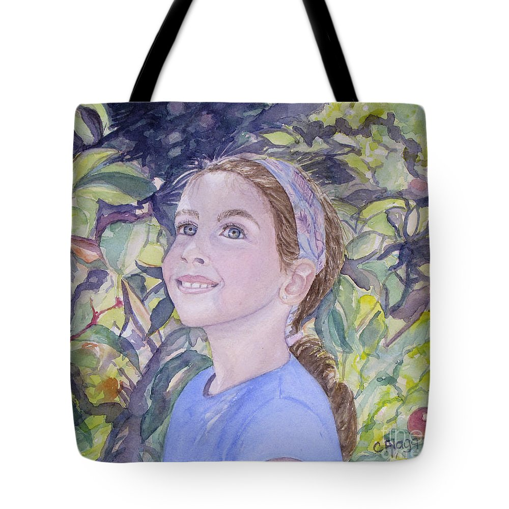 People Tote Bag featuring the painting Apple Picking by Carol Flagg