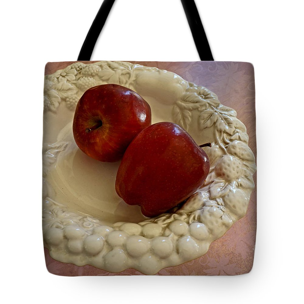 White Tote Bag featuring the photograph Apple Still Life 1 by Debbie Portwood