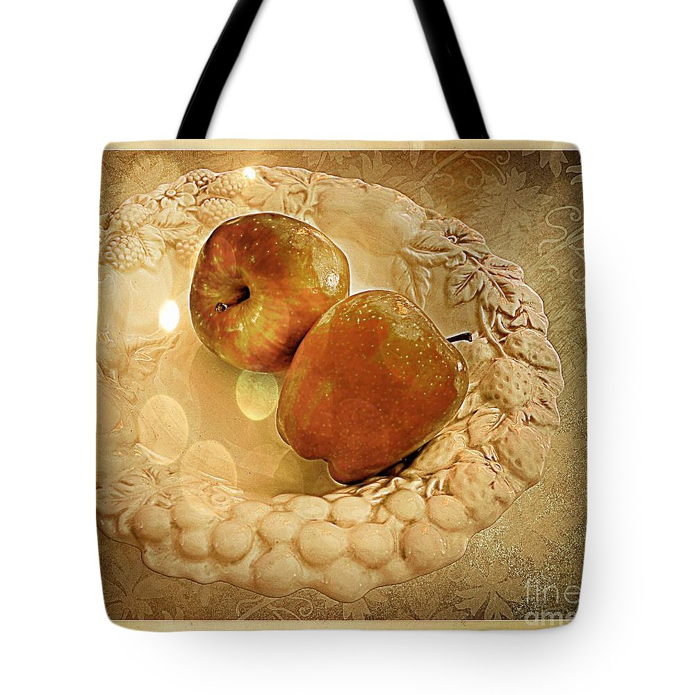 White Tote Bag featuring the photograph Apple Still Life 4 by Debbie Portwood