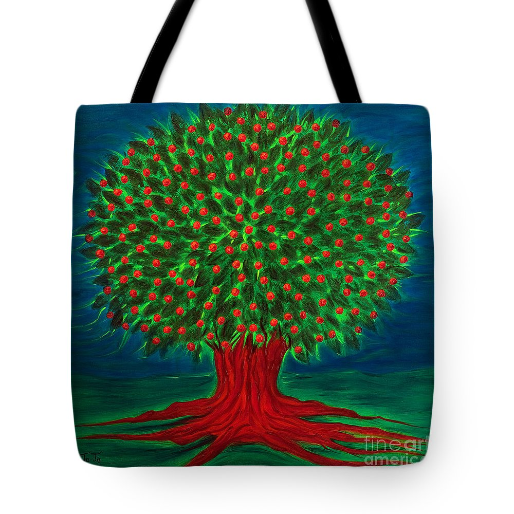 Acrylic Tote Bag featuring the painting Apple Tree by Jo-Anne Elniski