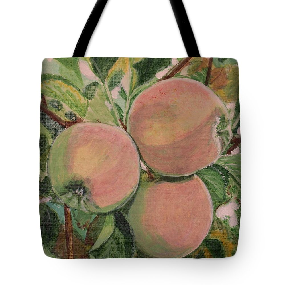Apple Tote Bag featuring the painting Apples by Vera Lysenko
