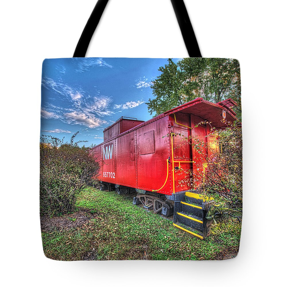 Historic Tote Bag featuring the photograph Appomattox Park Caboose by Greg Hager