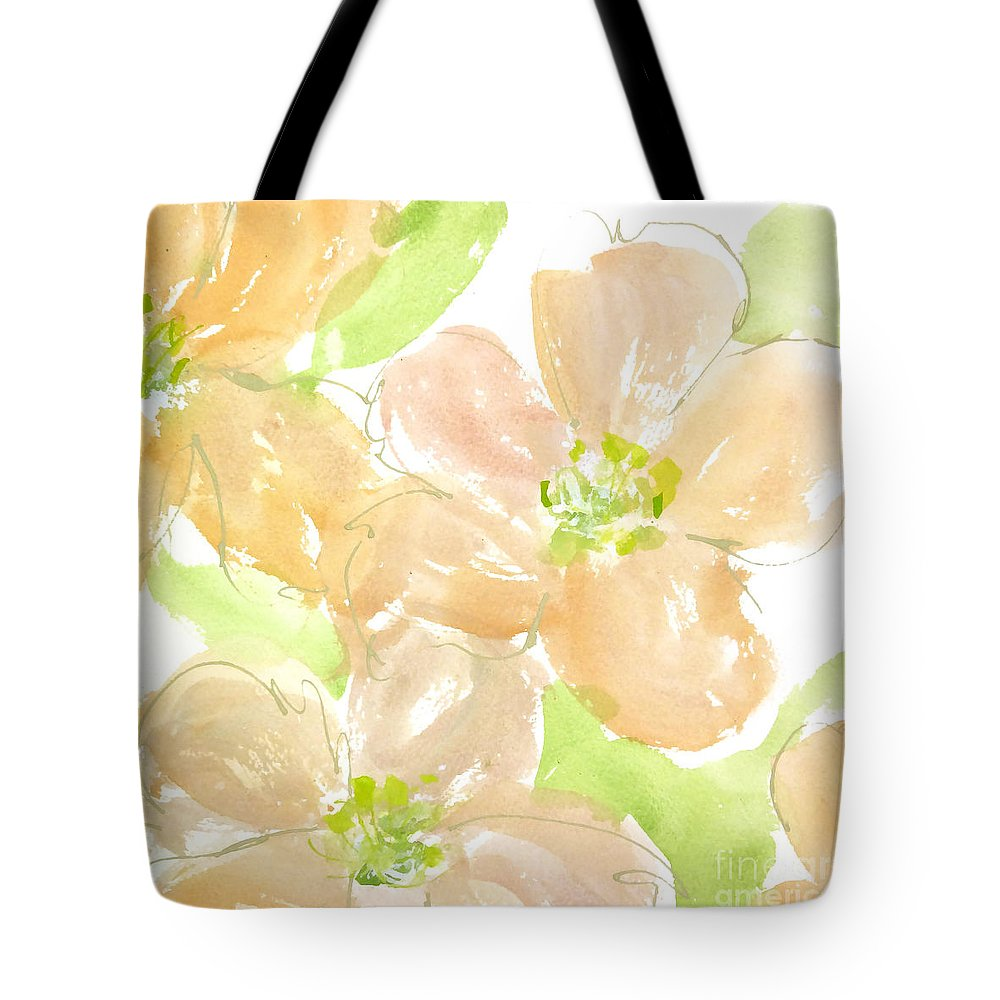 Original And Printed Watercolors Tote Bag featuring the painting Apricot Quince by Chris Paschke
