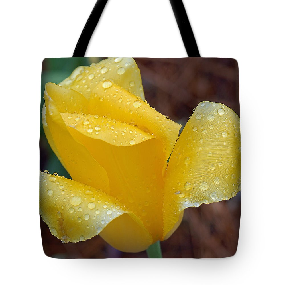 Yellow Tote Bag featuring the photograph April Showers by Suzanne Gaff