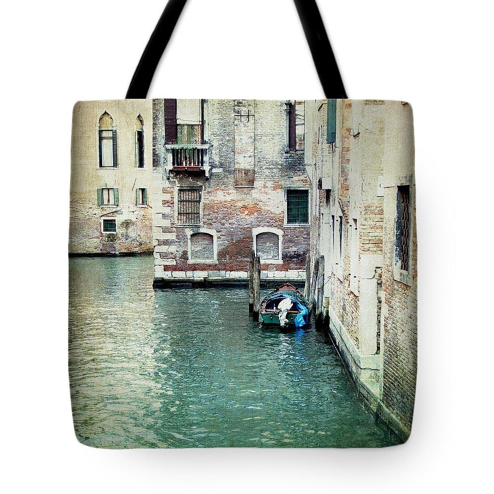Italian Decor Tote Bag featuring the photograph Aqua - Venice by Lisa Parrish