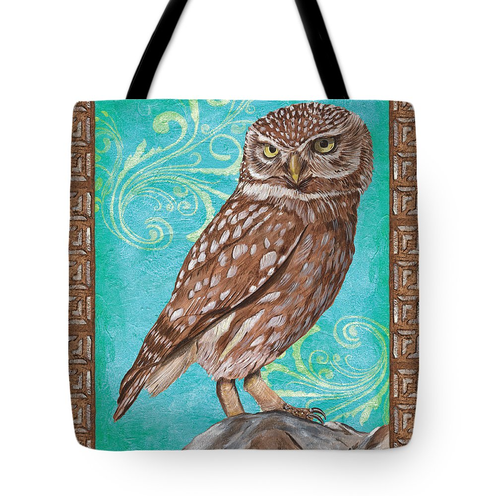 Owl Tote Bag featuring the painting Aqua Barn Owl by Debbie DeWitt