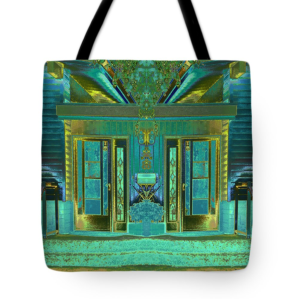 Abstract House Tote Bag featuring the digital art Aqua House 2 by Don and Judi Hall