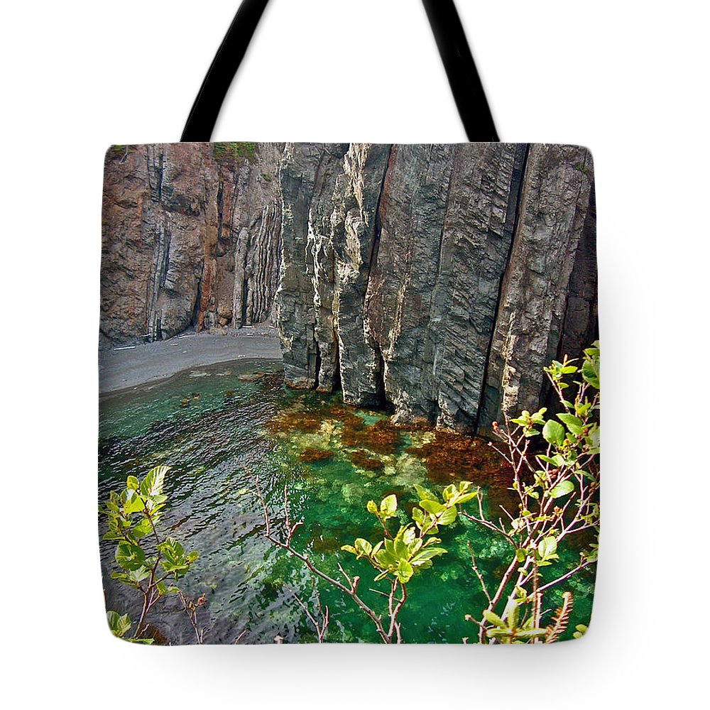 Aquamarine Water In Trinity Bay Near Skerwink Trail Tote Bag featuring the photograph Aquamarine Water In Trinity Bay Near Skerwink Trail-nl by Ruth Hager