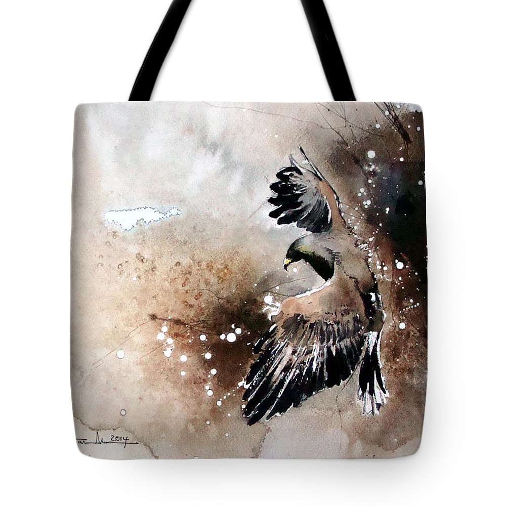 Birds Tote Bag featuring the painting Aqvila Non Capit Muscas by Mugur Popa