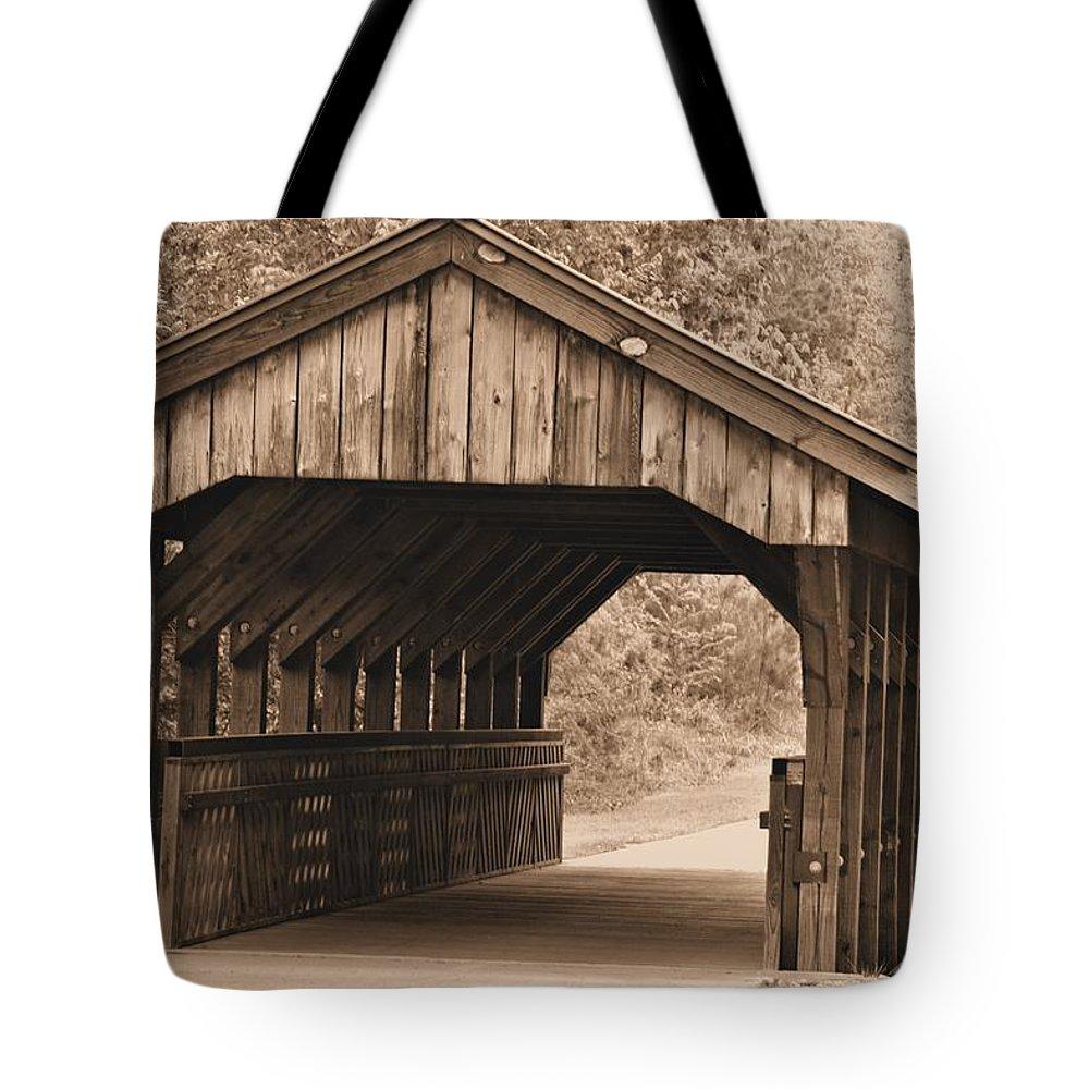 Arabia Mountain Tote Bag featuring the photograph Arabia Mountain Covered Bridge by Tara Potts
