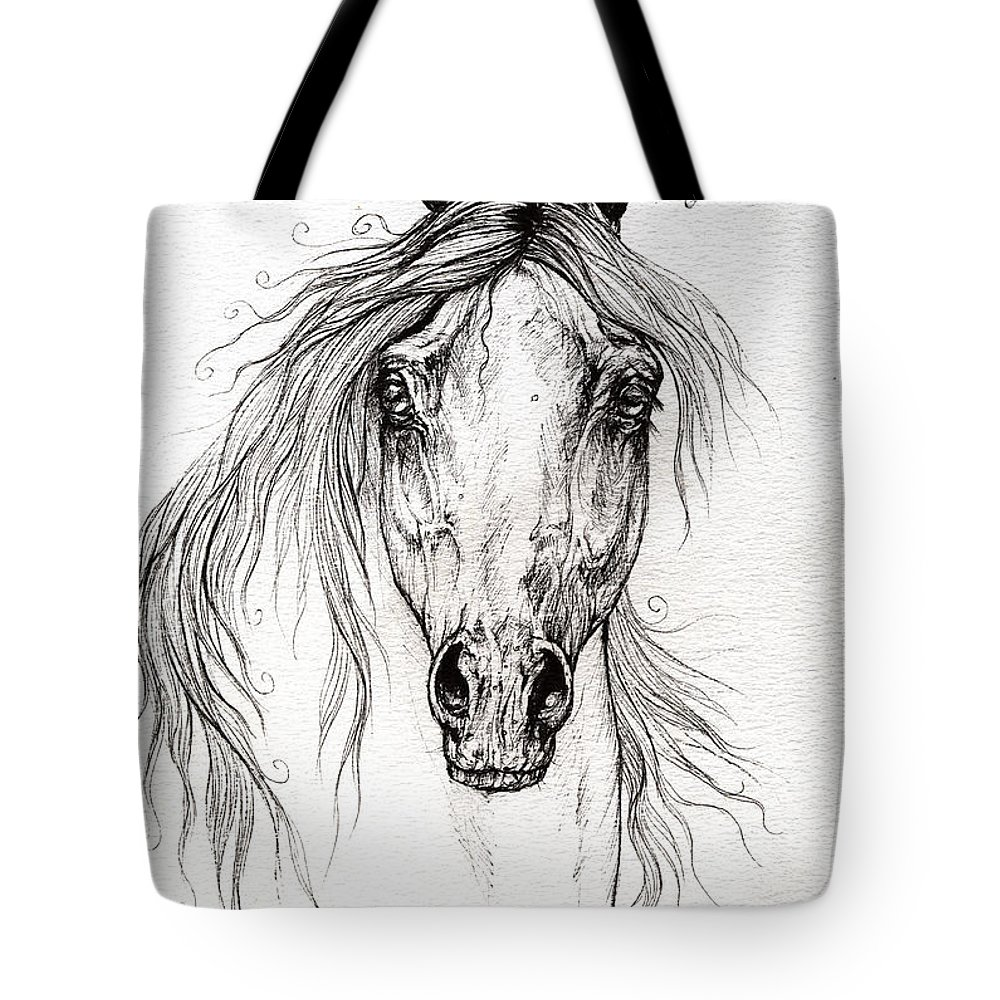 Horse Tote Bag featuring the drawing Arabian Horse Drawing 55 by Angel Ciesniarska