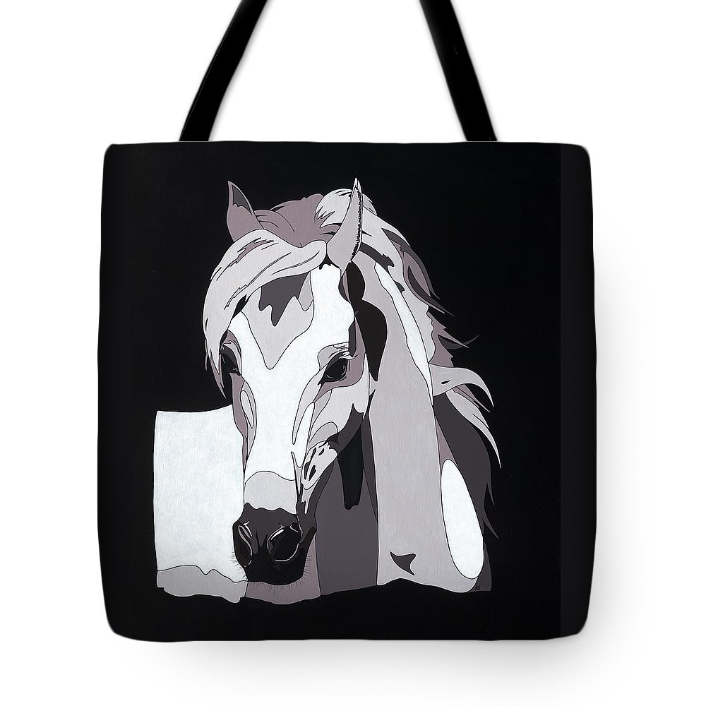 Abstract Horse Tote Bag featuring the painting Arabian Horse With Hidden Picture by Konni Jensen