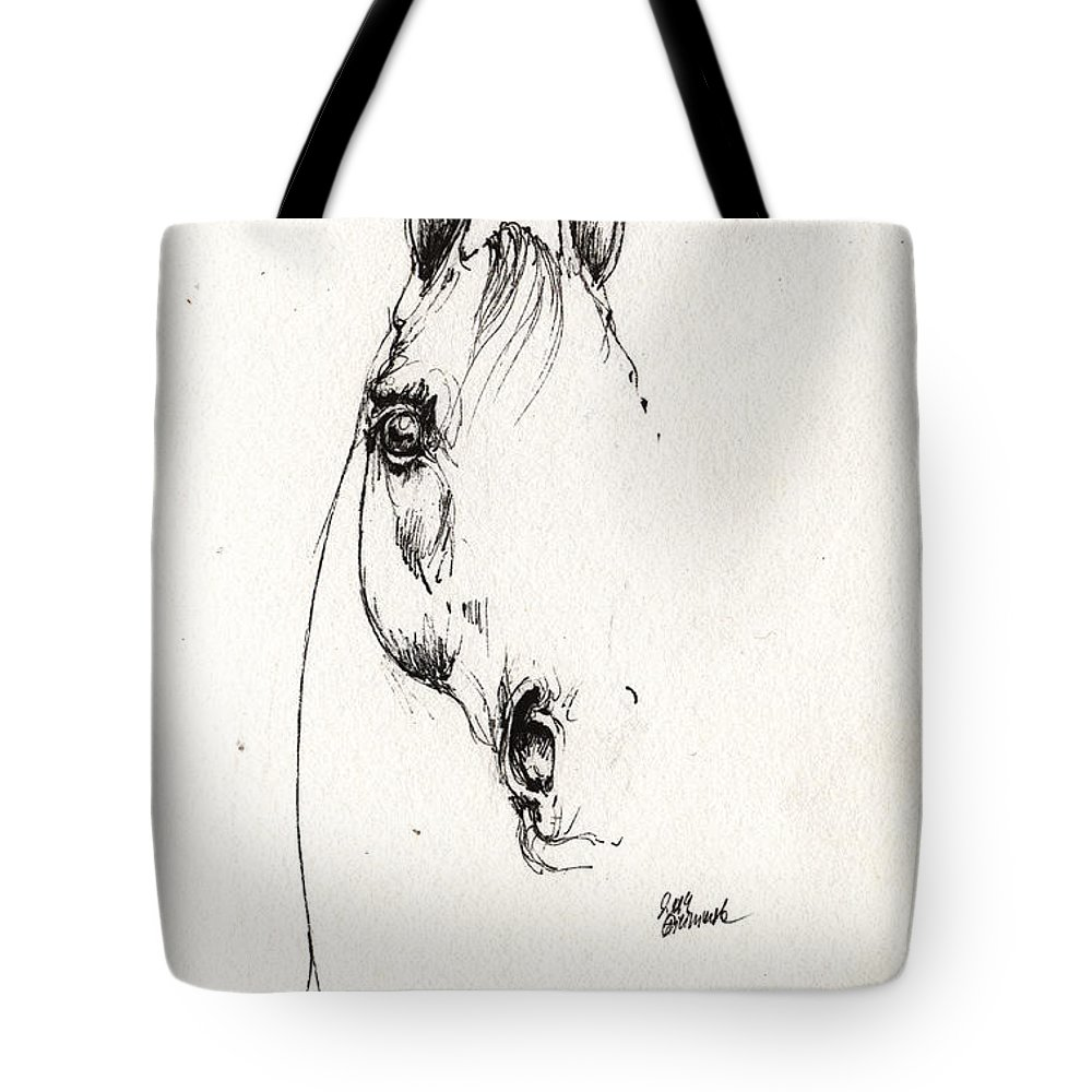 Horse Tote Bag featuring the drawing Arabian Horse Sketch 2014 05 29b by Angel Ciesniarska