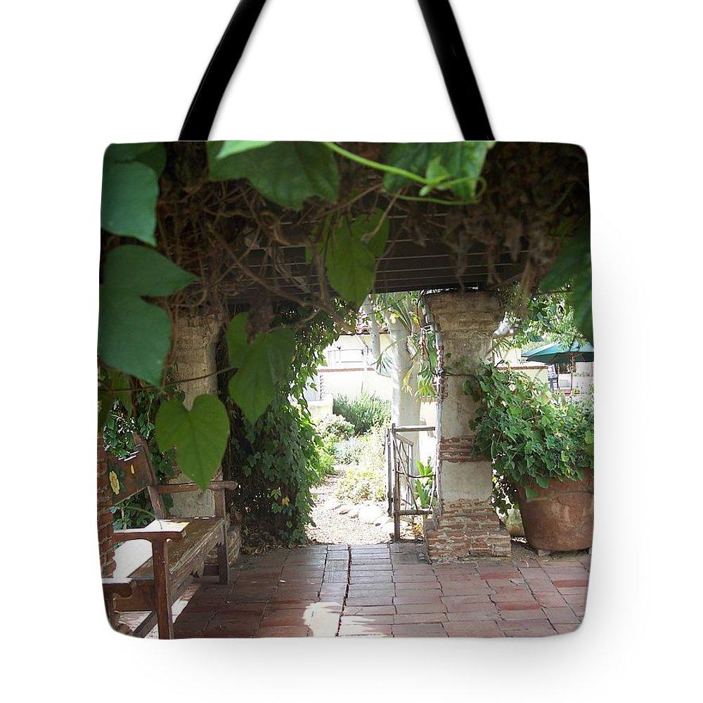 California Mission Tote Bag featuring the photograph Arbor San Juan Capistrano by Kimberly-Ann Talbert